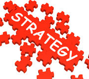 Strategy Puzzle Showing Plans And Stock Image