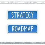 Strategy. Roadmap. Signboard, stylized car license plate. Top view. Vector design elements stock illustration