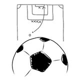 Strategy soccer free kick , hand draw Royalty Free Stock Photos