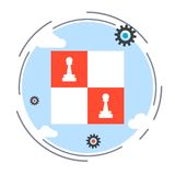 Strategy, solution choice vector concept. Strategy, solution choice, chess game flat design style vector concept illustration royalty free illustration