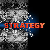 Strategy Solution. Concept and game plan symbol as text breaking through a maze or labyrinth puzzle as a financial  or corporate symbol of planning success to Stock Image