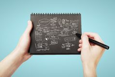 Strategy success. Drawing strategy success on notebook Stock Images
