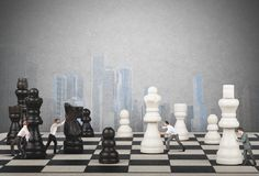 Strategy and tactics in business. Strategy and tactics of a team of businessman Stock Image