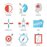 Strategy and tactics line icons set. Thin line icons of business effective solution, success tactics position and strategy decision, long-term goal achievement Royalty Free Stock Images