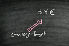 Strategy,target and money symbol Stock Photos