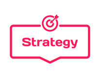 Strategy template dialog bubble, flat style on white background. Basis with target icon for various word of plot. Vector. Strategy template dialog bubble in flat Stock Image