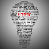 Strategy  text collage Composed in the shape of bulb Royalty Free Stock Images