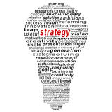 Strategy  text collage Composed in the shape of bulb Royalty Free Stock Photos
