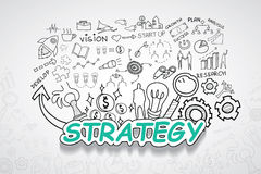 Strategy text, With creative drawing charts and graphs business success strategy plan idea, Inspiration concept modern design temp Stock Photography