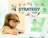 Strategy text with little girl Royalty Free Stock Photos