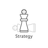 Strategy with thin line chess king. Concept of adversary, player, career, boss, leisure, tactical goal, idea, power, attack. flat style modern logotype design Stock Photo