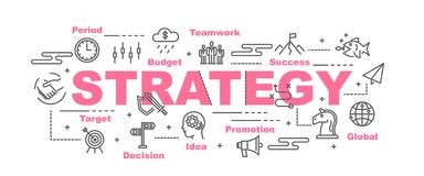 Strategy vector banner. Design concept, flat style with icons Royalty Free Stock Images