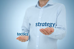 Strategy versus tactics. Business concept. Manager (CEO) prefer strategical solutions and decisions against tactical Royalty Free Stock Images