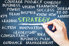 Strategy and vision concept with popular words from business language. Strategy and vision concept with popular related words from business language stock photo