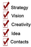 Strategy Vision Creativity Idea Contacts Words Royalty Free Stock Photography