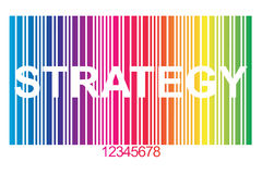 Strategy. In white block letters cut into colorful barcode with red numbers royalty free illustration