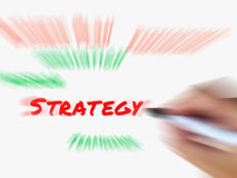 Strategy on Whiteboard Displays Planning Goals Objectives and St. Strategy on Whiteboard Displaying Planning Goals Objectives and Strategies Royalty Free Stock Image