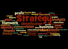 Strategy, word cloud concept 2. Strategy, word cloud concept on black background Royalty Free Stock Image