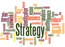Strategy, word cloud concept 3. Strategy, word cloud concept on white background Stock Image