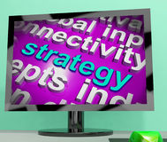 Strategy Word Cloud Shows Business Solution Or Management Goal Royalty Free Stock Photos