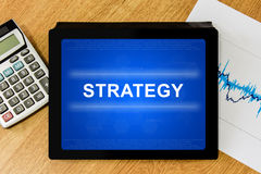 Strategy word on digital tablet Royalty Free Stock Image