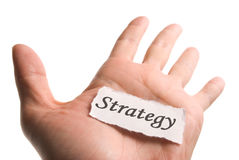 Strategy word in hand Stock Photos