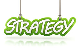 Strategy word hanging  on white background Royalty Free Stock Photo