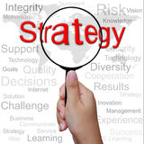 Strategy, word in Magnifying glass Royalty Free Stock Photography