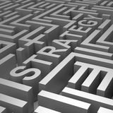 Strategy Word In Maze Shows Blueprint Or Plan Stock Images