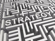 Strategy Word In Maze Shows Game Plan Royalty Free Stock Images