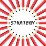 Strategy word with pencil background Stock Photo