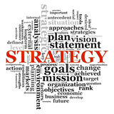 Strategy wordcloud. Illustration of wordcloud related to word strategy Royalty Free Stock Photography