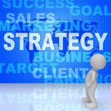 Strategy Words Indicates Solutions Vision And Trade 3d Rendering Stock Images