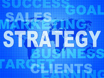 Strategy Words Indicates Solutions Vision And Trade Stock Images
