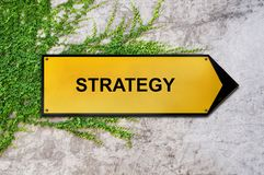 Strategy on yellow sign hanging on ivy wall. Concrete texture Royalty Free Stock Photo