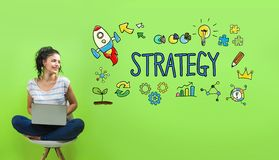 Strategy with young woman. Using a laptop computer royalty free stock photography