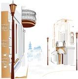 Straten in de stad royalty-vrije illustratie