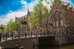 Straten en huizen in Amsterdam Stock Foto