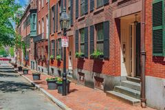 Straten en Huizen in Beacon Hill, Boston, de V.S. stock foto