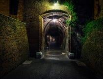 Straten en stegen van Verona nacht Italië stock afbeeldingen