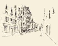 Straten in Parijs, Frankrijk, Uitstekende Getrokken Hand Stock Afbeelding