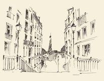 Straten in Parijs, Frankrijk, Uitstekende Getrokken Hand Stock Afbeeldingen