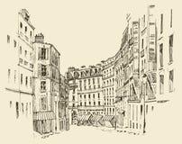 Straten in Parijs, Frankrijk, wijnoogst gegraveerde illustratie, getrokken hand Royalty-vrije Stock Foto