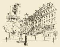 Straten in Parijs, Frankrijk, wijnoogst gegraveerde illustratie, getrokken hand Stock Afbeelding