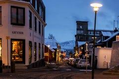 Straten in Reykjavik in Kerstmistijd, IJsland Royalty-vrije Stock Afbeelding