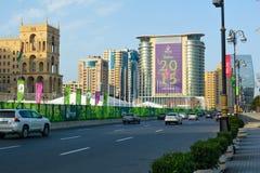 Straten van Baku, 1st Europese spelen in Baku Stock Afbeelding