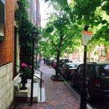 Straten van Beacon Hill in Boston Stock Afbeelding