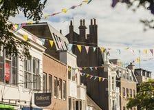 Straten van Brighton, Engeland - gele zonneschijn Royalty-vrije Stock Foto's