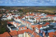 Straten van historisch centrum Greifswald Stock Afbeeldingen