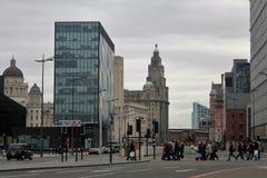 Straten van Liverpool, in het UK Stock Foto